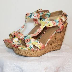 NEW T-strap floral cork wedge sandals